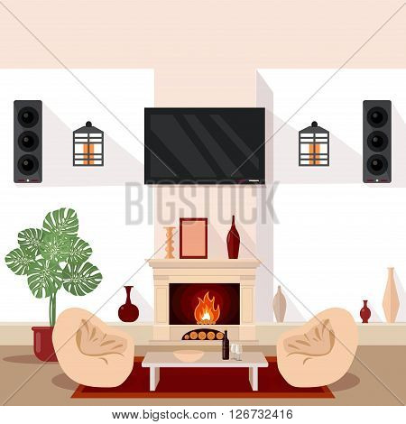 Living Room Interior. Modern Interior with TV and Fireplace Vector illustration