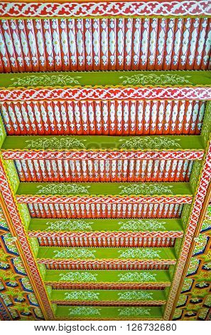 KOKAND UZBEKISTAN - MAY 6 2015: The ceilings in Khudayar Khan Palace are the masterpieces of medieval islamic art on May 6 in Kokand.