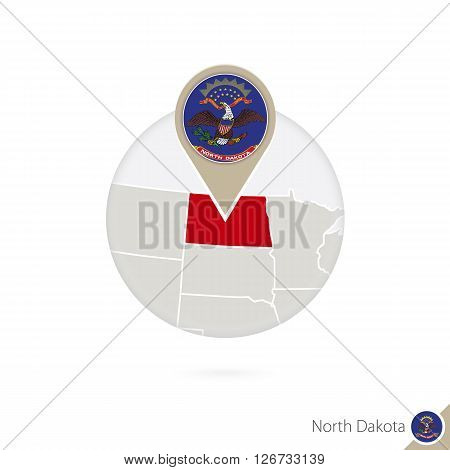 North Dakota Us State Map And Flag In Circle. Map Of North Dakota, North Dakota Flag Pin. Map Of Nor