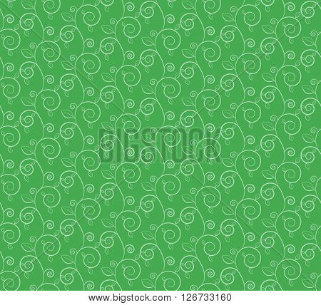 green branches and leaves seamless pattern vector illustration