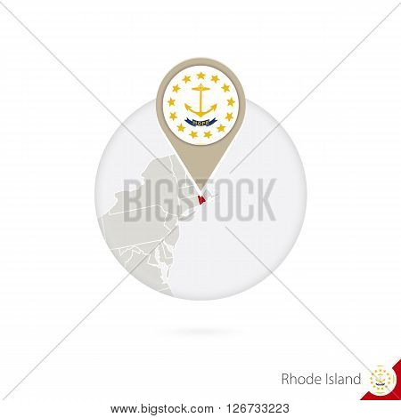 Rhode Island Us State Map And Flag In Circle. Map Of Rhode Island, Rhode Island Flag Pin. Map Of Rho