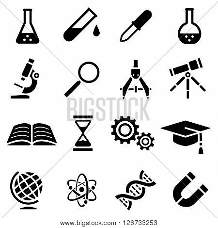 Vector illustration. Icon set of black silhouette of scientific tools in flat design. For info graphic, web banners, promotional materials, presentation templates
