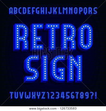 Retro sign alphabet vector font. 3D type letters with light bulbs and shadows. Vector typeface for your design.