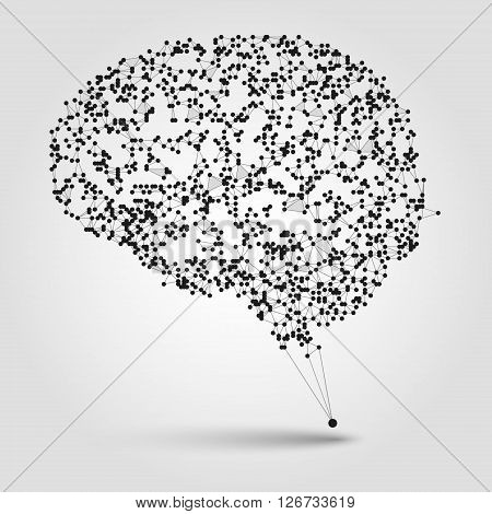 Abstract human brain from dots and lines. Technology background. Brain illustration. Design element in vector.