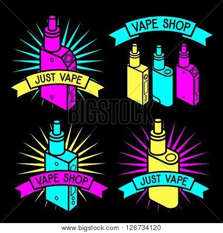 Vector emblem of vape. Isolated on black background. Logo for vape shop. Vape trend. Illustration of electronic cigarette