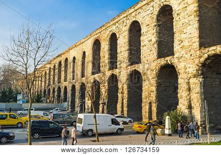 ISTANBUL TURKEY - JANUARY 21 2015: The Valens Aqueduct is the ancient landmark preserved since the Roman Ages on January 21 in Istanbul.