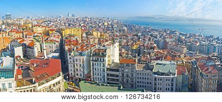 Panorama of the Beyoglu district of Istanbul from the Galata Tower one of the best city's viewpoints Turkey. ** Note: Visible grain at 100%, best at smaller sizes