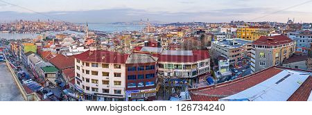 Panorama of the roofs of the old Fatih district from the top of the Third Hill of Istanbul Turkey.
