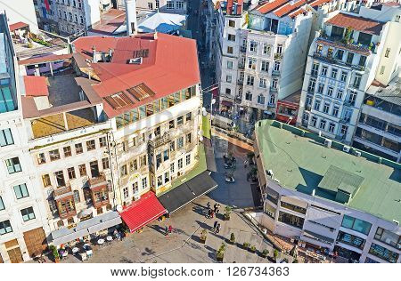 The housing of Galata street surrounding the Galata Tower that is the beautiful viewpoint overlooking the old city Istanbul Turkey.