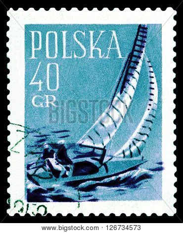 STAVROPOL RUSSIA - APRIL 05 2016: A stamp printed in Poland shows a sailing race circa 1958