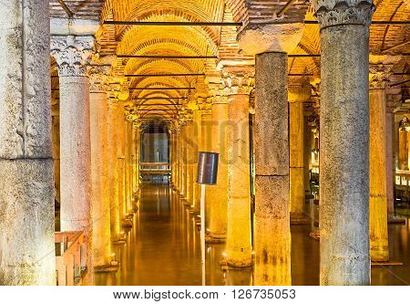 ISTANBUL TURKEY - JANUARY 21 2015: The interior of the ancient Basilica Cistern known since the Early Roman Age on January 21 in Istanbul.