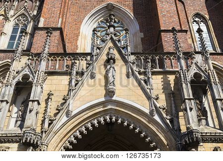 The central entrance to the Cathedral of Saint John the Baptist. Wroclaw. Poland