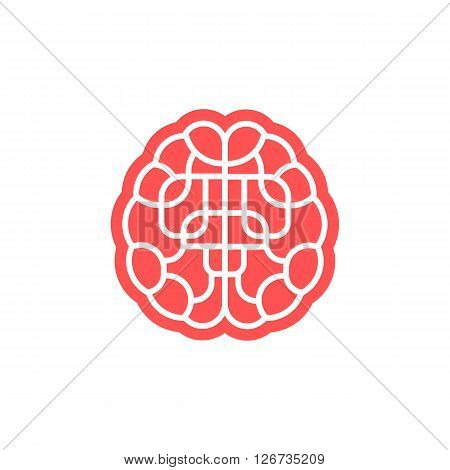 Brain maze icon isolated on white background. Conceptual brain logo. Simple brain illustration. Stock vector.