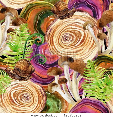 Forest watercolor background. Woods stump mushroom leaves lichen and snail seamless pattern. Watercolor colorful natural woods life. Upper view. Hand painted forest wildlife illustration