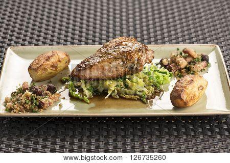 Roast Pheasant crown, chestnut stuffing & Savoy cabbage