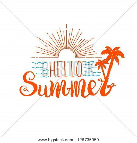 Hello summer. Hand drawn lettering. Sunrise with palms. Vector illustration