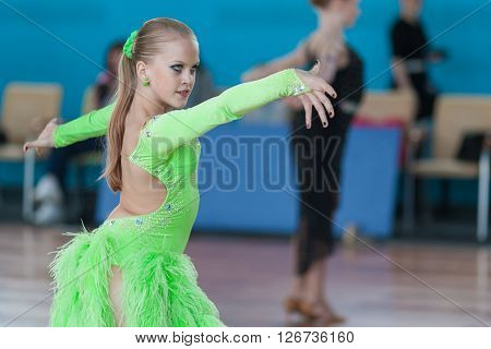 Minsk Belarus -April 3 2016: Shaban Arthur and Tenyakova Vlada Perform Juvenile-2 Latin-American Program on IDSA Championship Kinezis Star Cup - 2016 in April 3 2016 in Minsk Republic of Belarus