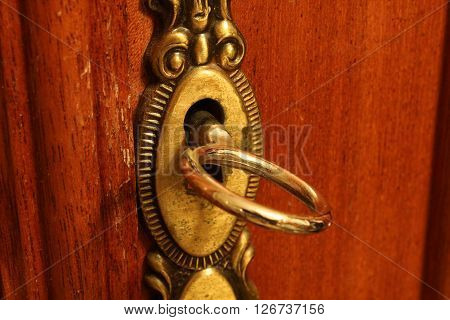 Gold lock and key in a wooden brown door.