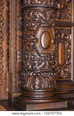 Many churches in Quito have these carved wooden columns.