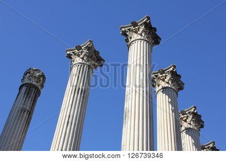 Columns of an ancient Roman temple in Cordoba - Spain.