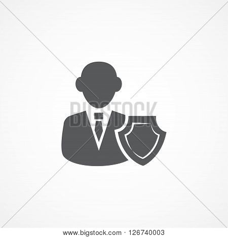 Gray Insurance Agent Icon on white background