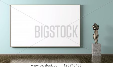 Big Poster And Statuette Interior Background 3D Rendering