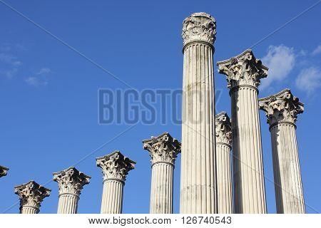 Columns of an ancient Roman temple in Cordoba - Spain