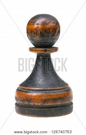 vintage wooden pawn chess piece isolated on white