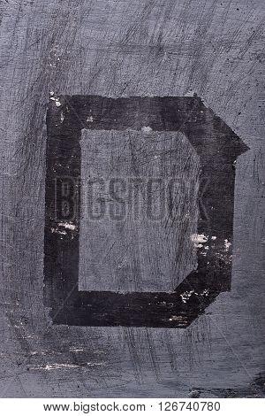Black Grunge Alphabet. Letter D