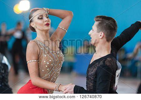 Minsk Belarus -April 3 2016: Adamovskiy Vladislav and Valashimas Stefaniya Perform Juvenile-2 Latin-American Program on IDSA Championship Kinezis Star Cup - 2016 in April 3 2016 Minsk Republic of Belarus