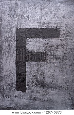 Black Grunge Alphabet. Letter F