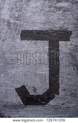 Black Grunge Alphabet. Letter J