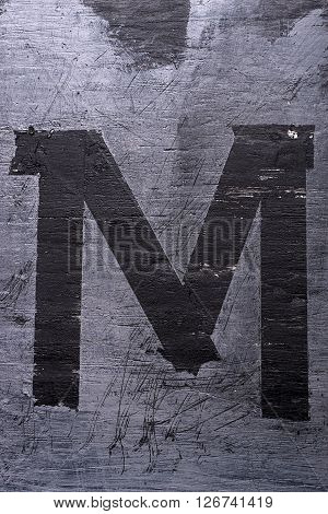 Black Grunge Alphabet. Letter M