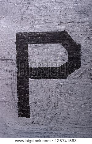 Black Grunge Alphabet. Letter P