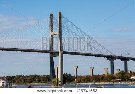 Suspension Bridge over the Savannah river in Georgia