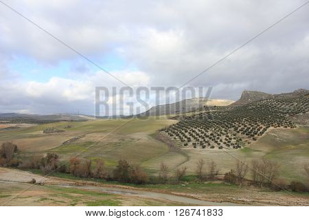 Countryside with sky and clouds in Andalusia - Spain.