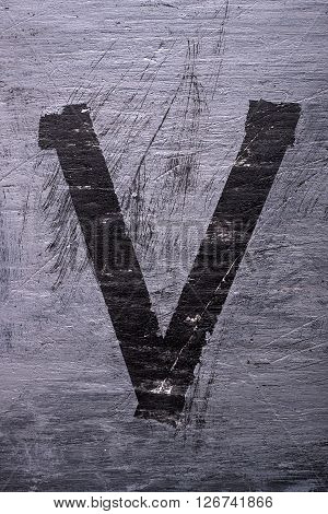 Black grunge alphabet sticky tape effect.Letter V
