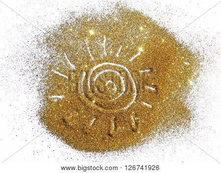 The sun of golden glitter sparkle on white background
