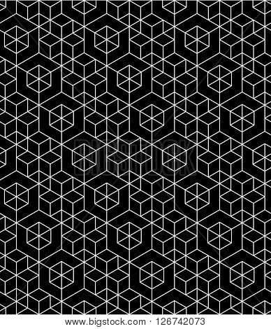 Futuristic continuous black pattern illusive motif abstract background with geometric figures. Monochrome