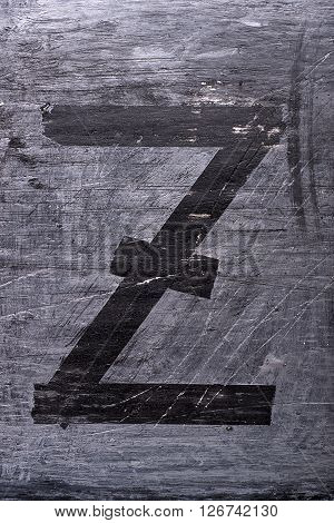 Black grunge alphabet sticky tape effect.Letter Z