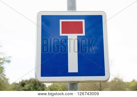 French Dead End Street Road Sign On White Sky