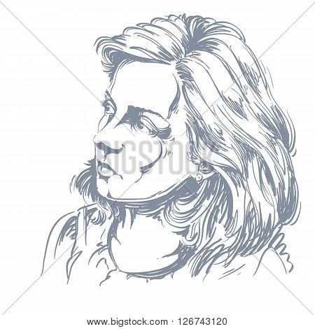 Vector Drawing Of Peaceful Woman With Stylish Haircut. Black And White Portrait Of Attractive Calm R