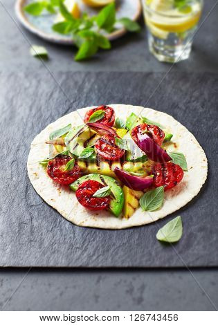 Fajita with Grilled Avocado, Mango and Cherry Tomatoes