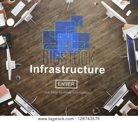 Infrastructure Construction Chip Link Concept