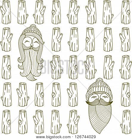 Log - wood and tools. Hand-drawn seamless cartoon pattern with timber. Doodle drawing. Vector illustration.