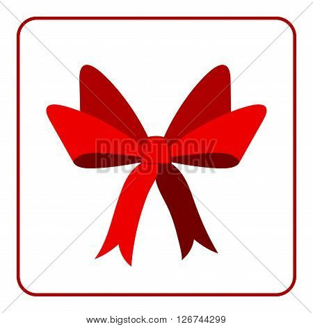 Red bow with ribbons icon. Flat design sign isolated on white background. Decoration art object for christmas present holiday. Design element. Symbol of celebration surprise. Vector illustration.