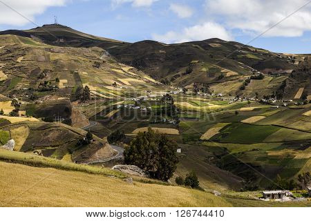 Crops on hillsides and farms around Zumbahua Cotopaxi Province Ecuador