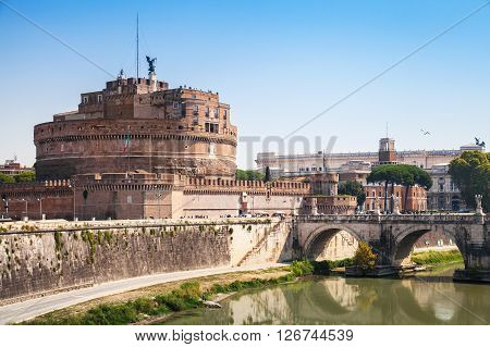Cityscape Of Rome With Saint Angelo Bridge