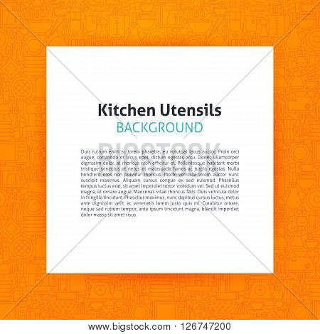 Paper Over Kitchen Utensils And Cooking Line Art Background