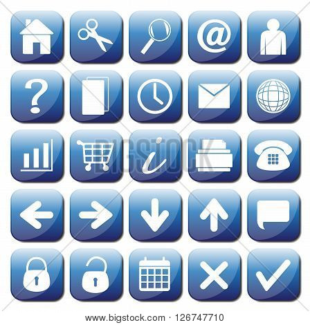 25 Blue Web Icons Set